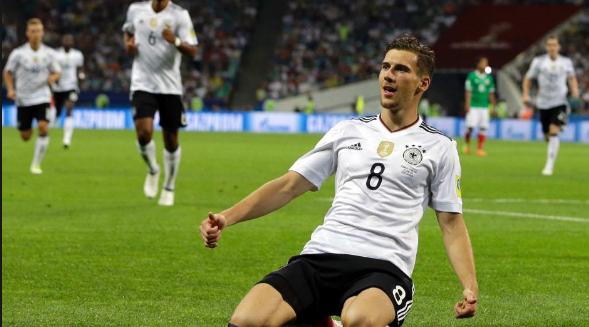 Πανηγυρισμός του Goretzka μετά από γκολ με την εθνική Γερμανίας.