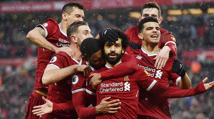 Πανηγυρισμοί από το γκολ του Salah στο Merseyside Derby.