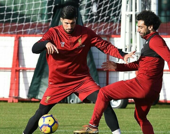 Ο Emre Can με τον Mohamed Salah στην σημερινή προπόνηση.