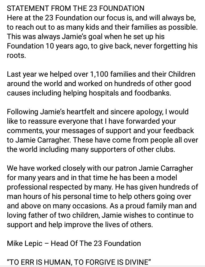 Η ανακοίνωση του Jamie Carragher's 23 Foundation.