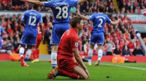 Ο Steven Gerrard λίγες στιγμές μετά το γκολ της Chelsea.