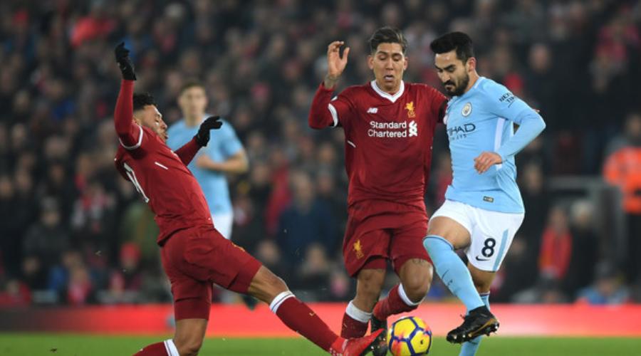 O Ilkay Gundogan στο περσινό 4-3 της Liverpool επί της City στο Anfield.