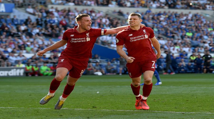 James Milner και Jordan Henderson, στη νίκη στην έδρα της Cardiff, πέρυσι τέτοια εποχή.