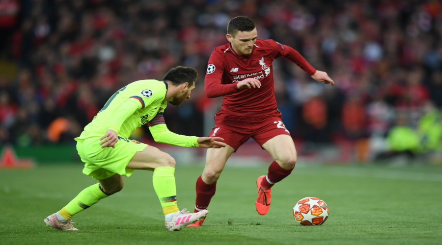 Lionel Messi και Andy Robertson στον ιστορικό αγώνα του Anfield.