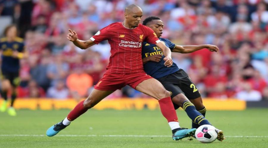 O Fabinho στον πρόσφατο αγώνα της Liverpool με την Arsenal στο Anfield.