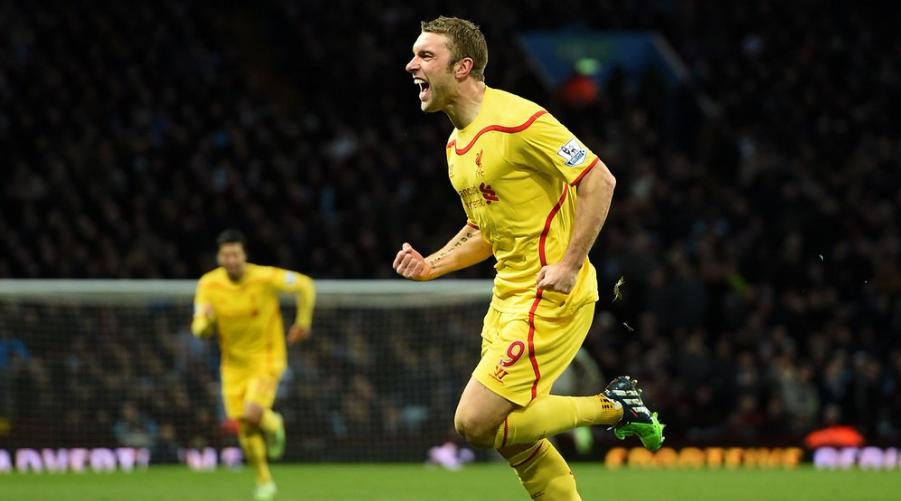 O Rickie Lambert πανηγυρίζει το γκολ του εναντίον της Aston Villa, στην -μάλλον- πιο ευτυχισμένη στιγμή της σταδιοδρομίας του στη Liverpool,