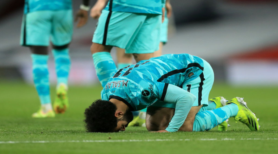 O Mo Salah πανηγυρίζει το γκολ του στο Emirates.