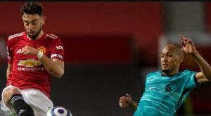 Fabinho vs Bruno Fernandes στο Old Trafford.Fabinho vs Bruno Fernandes στο Old Trafford.